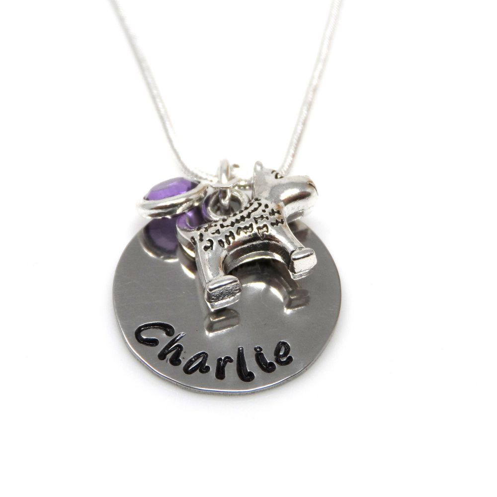 Personalised Dog Pendant Necklace with Birthstone Charm – Gift Boxed & Free Delivery UK
